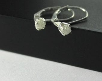 White Rough Diamond Leverback Earrings - Sterling Silver Raw Diamonds - Lever Back Earrings - Natural White Diamonds - April Birthstone