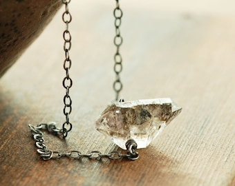 Herkimer Diamond Sterling Silver Necklace, April Birthstone Modern Jewelry, Faceted Gemstone Necklace