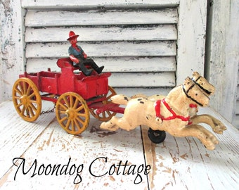 Awesome Antique Cast Iron Horse Drawn Carriage with Farmer & Two Horses