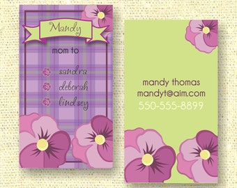 Purple Pansies Calling Card / Custom Business Card / Mommy Card / Earring Card