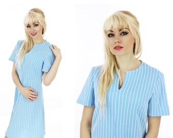 60s Blue White Striped Dress Sixties Mod Vintage Cute A-line 1960s 70s 1970s Small S Medium M