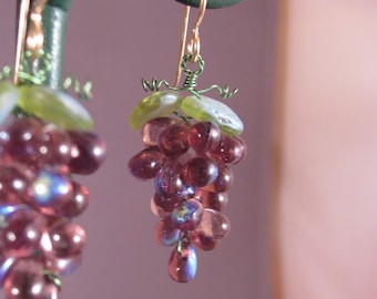 Glass Grape Earrings Large Glass Beads Handmade in US Multi Colors Wine Related Gifts