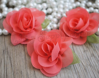 """Petite Coral Chiffon Rose with Leaf - 2.2"""" Layered small fabric flower - Headband Supply - Coral Chiffon Roses - Fabric Flowers"""