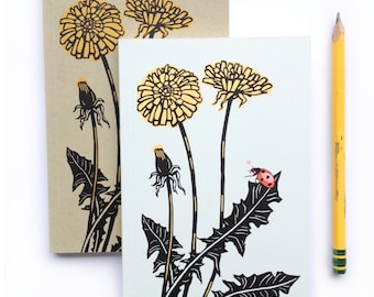 Small Nature Notebook, blank journal, small sketchbook, Dandelion book recycled paper, blank notebook, pocket sketch book, small journal