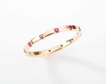 Ruby/gold Stackable Ring