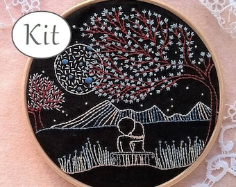 Embroidery kit - hand embroidery kit - beginner stitching kit - modern needlecraft kit - needlepoint kits - Valentines day diy gift