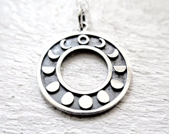 Moon Phases Necklace - Solid 925 Sterling Silver Charm - Insurance Included