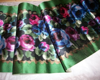 roses on a green ground lovely silk  antique ribbon