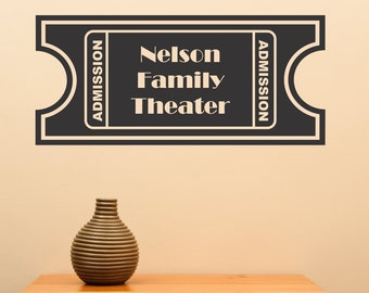 Persionalized Movie Ticket Wall Art Theater Sharp Movie Show Entertainment Vinyl Decal Wall Art Sticker Theatre Rec Room