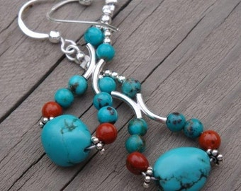 INDIAN SUMMER Swaying Hips Chandelier Earrings- Genuine Turquoise, Red Jasper and Bali Sterling Silver - Handmade by Dorana