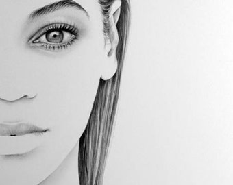 SALE Beyonce Minimalism Original Pencil Drawing Fine Art Portrait
