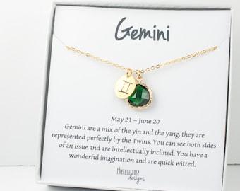 Zodiaque Gémeaux collier en or, Gemini mai collier, mai anniversaire bijoux, collier du zodiaque, astrologie collier en or