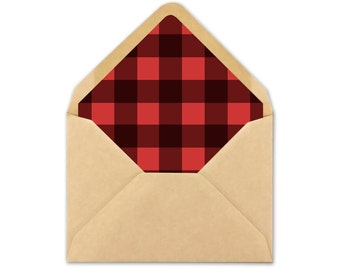 Plaid Envelope Liner printable - Rustic Wedding Envelope Liner template - buffalo plaid - A7 square - A7 triangle - A2 square - A2 triangle