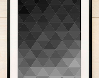 Geometric Art Print Dark Black and Grey