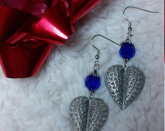 Blue and silver heart leaf earrings