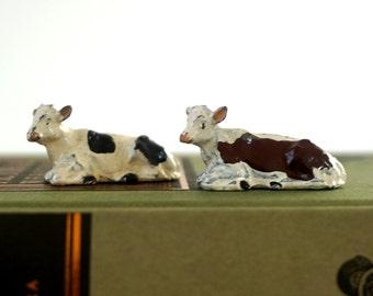 Miniature Spotted Calves - Vintage 1930's English Diecast Lead Toys - Metal Figures - Miniature Animals - Toy Farm