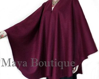 Cape Ruana Wrap Coat Wool BURGUNDY USA Made Maya Matazaro NEW