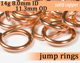 14g 8.0 mm ID 11.3 mm OD copper jump rings -- 14g8.00 open jumprings links