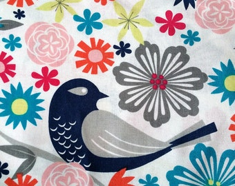 Navy & Grey Bird Bright Floral Print Cotton Fabric 2 Yards