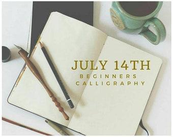 Calligraphy 101 Class, Beginner JULY 14 Hand Lettering Atlanta Area Workshop, In Person Beginner Calligraphy Class and Hand Lettering Kit