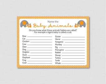 Baby Animals Name Game Baby Shower Printable Elephant Baby Shower - Printable Instant Download - Orange Elephant Baby Shower - 0024-O