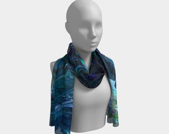Blue Swirl Long Scarf