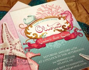 Meerjungfrau druckbare Geburtstag Party-Einladung, unter dem Meer einladen, auf Bestellung gefertigt gedruckt Einladungen, die kleine Meerjungfrau-Druckvorlagen