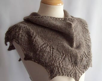 Wool Shawlette, Knit Shawlette, Pure Wool, Grey Shawlette, Knitted Scarf, Grey Scarf, Wool Scarf, Gift for Her, Gift Boxed, Birthday Gift