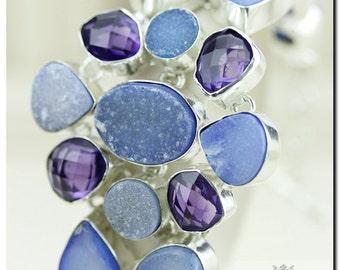 Blue CHALCEDONY Drusy Druzy Brazilian Lavender Amethyst 925 SOLID Sterling Silver Bracelet & FREE Worldwide Shipping