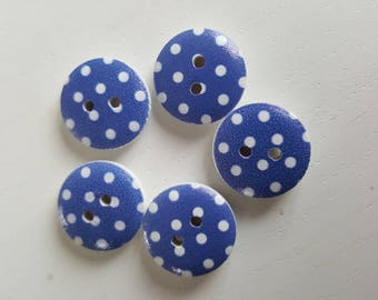 Wood varnish, blue with white polka dots buttons