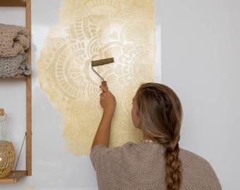 Big Yoga mandala in Gold, 116 by 116 centimeters