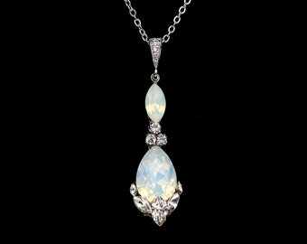 Bridal wedding jewelry bridesmaid gift prom party Swarovski marquise clear white and white opal teardrop crystal rhinestone silver necklace