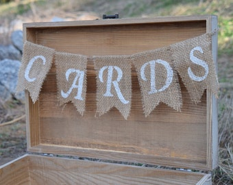 Burlap Cards Banner - Rustic Wedding Card Box Insert - Shabby Chic Wedding - Wedding Card Chest - Cards Sign for Wedding Wedding Cards Sign