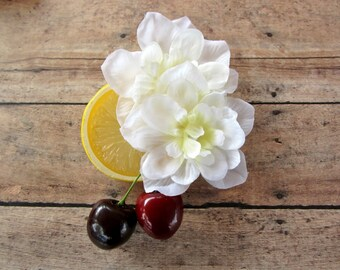 Lemon Cherry Blossom Fascinator, Cherry Lemondade Hair Clip, Fruit Hair Clip, Retro hair