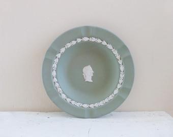 Wedgwood China dish, cream on celadon, Julius Caesar, roman style, green ashtray, green plate, executive ashtray, sage green
