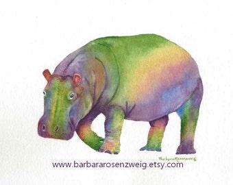 Hippo Watercolor, Hippo Art Print, Hippo Painting, Kids Room Decor, Nursery Wall Art, Safari Animal, Hippo Zoo Animal, Child Room Decor Gift