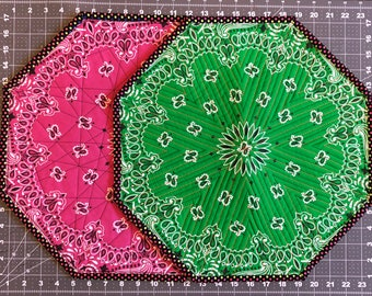 Green and Pink Hanky, Psychedelic, Quilted Placemats.  Set of 2.