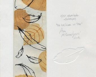 Print, etching, aquatint, original / Na krilima vetra