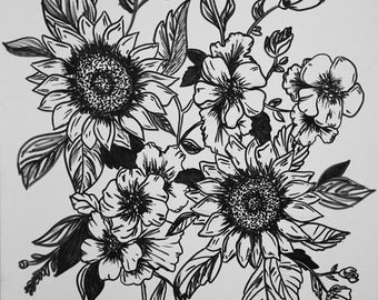 Sunflower Line Drawing : Rpg d&d fantasy character line drawing