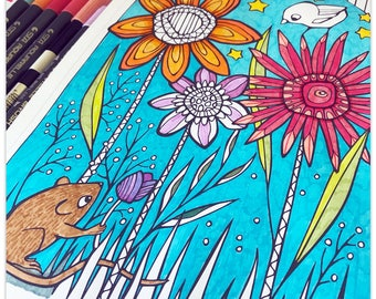 Printable Starry Florals Gift Colouring Page