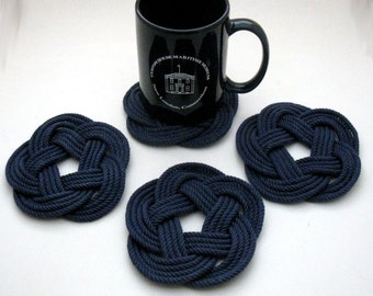 Navy Nautical Coasters  Navy Blue Woven Turk's Head Coasters Set of 4 knot coasters 100% cotton