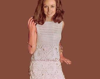 Crochet Motif Skirt Dress Pattern Vintage PDF 324 from WonkyZebra