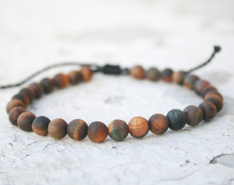 Men Bead Bracelet, Tiger eye Bracelet, Men Good Luck Jewelry, Men Healing Bracelet, Men Zen Bangle, Men Gift, Anniversary, unisex, Matte
