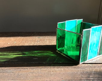 Stained Glass Candle Holder, Green, Aqua