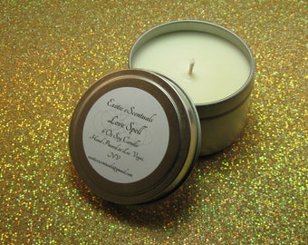 Love Spell Soy Candle Tin/6 Oz Soy Candle/Hand Poured Soy Candle/Dye Free Candle/Eco Friendly