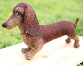 Dachshund Sausage Dog Gift Idea Needle Felted Dachshund Dog Sculpture Miniature  Art & Collectibles Pet Loss Gift
