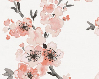 Light Coral Cherry Blossom Organic Fabric - By The Yard - Girl / Floral / Fabric