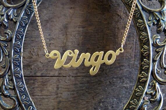 Virgo Astrological Sign Brass Necklace