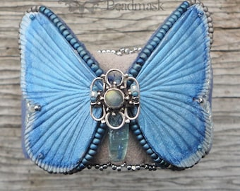 Blue Kyanite and Leather Butterfly Cuff Bracelet - Silvery Blue With Kyanite, Labradorite And Sterling Silver