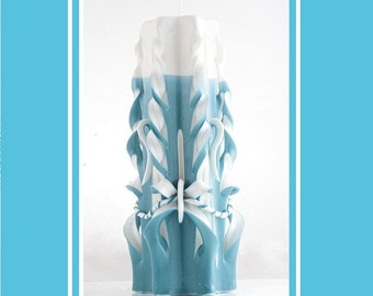 Carved Candle - Pillar Candle - Decorative Candle